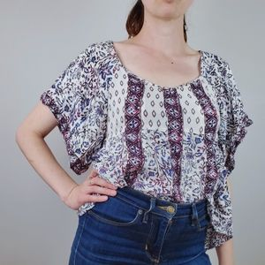Free people patterned top xs